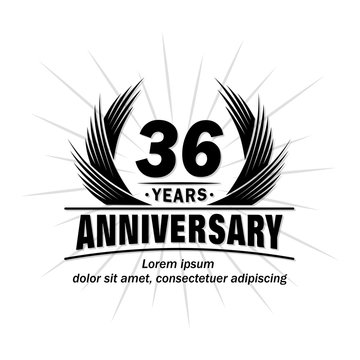 36 years design template. Anniversary vector and illustration template.