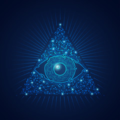 graphic of triangle electronic eye presented in futuristic style