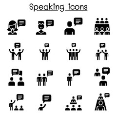 Talk, speech, discussion, dialog, speaking, chat, conference, meeting icon set