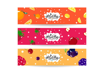 Healthy smoothie splashing, set of banner collection tag balance diet menu, colorful juicy fruit concept background texture vector illustration