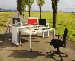 office place and work in the free nature