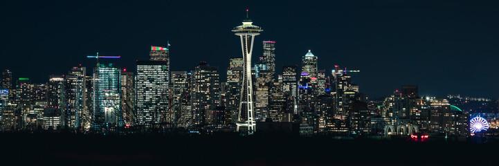 Urban Panorama of Seattle Skyline Skyscraper Buildings at Night