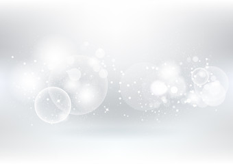 Abstract white background, silver particles scatter and stars scatter sparkle blurry vector illustration