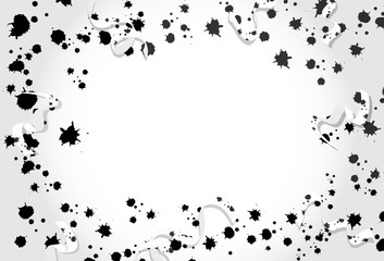 Confetti, ribbons with ink splatter scatter, black and white celebration party holiday season concept on white abstract background vector illustration