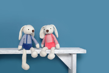 Two cute toy Bunny sitting on a bench