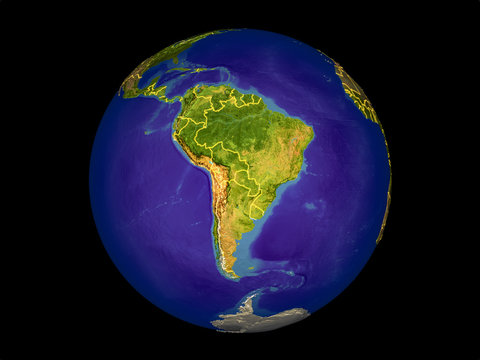 South America from space on model of planet Earth with country borders. Very fine detail of the plastic planet surface and oceans.