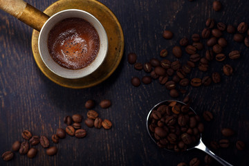 Turkish coffee and coffee beans - Image