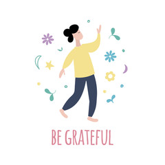Be grateful illustration. Law of attraction concept. Happy positive man