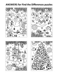 Answers for 4 previous find the differences visual puzzles, that are winter holidays, Christmas and New Year themed