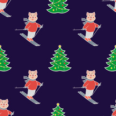 seamless pattern with the symbol of the New Year 2019. Pig is engaged in a winter sport. Mountain skier and christmas tree. On a dark background. Vector illustration.