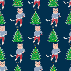 seamless pattern with the symbol of the New Year 2019. Pig is engaged in a winter sport - hockey player and Christmas tree. On a dark background. Vector illustration.