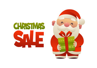 Happy cute cartoon Santa Claus with gift present and text Christmas sale