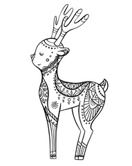 Cute cartoon deer with boho pattern. Linear illustration. Vector doodle element for postcards, coloring pages and your creativity