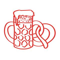 Handgezeichnetes Bier mit Brezel in rot