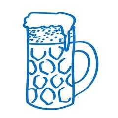 Handgezeichneter Bierkrug in dunkelblau