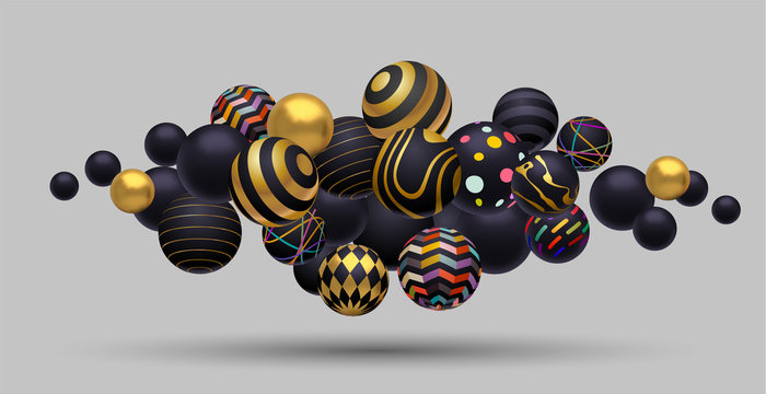 Abstract composition of floating spheres. Gold, black and multicolored. 3D eps10 vector
