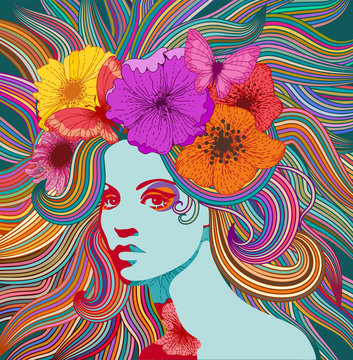 Psychedelic portrait of a hippie woman with colorful hair, flowers and butterflies.  Eps 10 vector