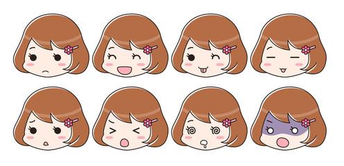 喜怒哀楽 表情セット 茶髪女性