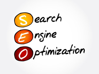 SEO - Search Engine Optimization acronym, business concept background