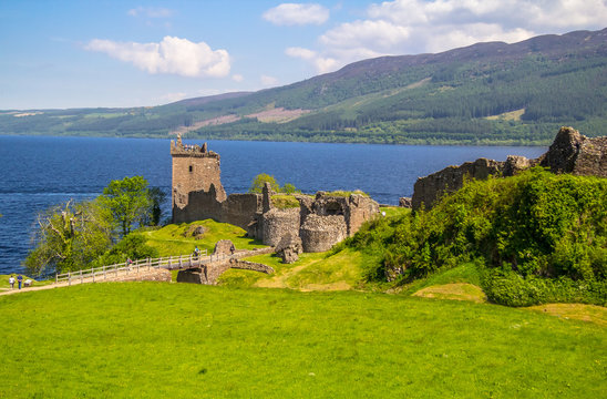 The Urquhart Castle on the shores of Loch ness