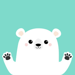 White polar bear holding hands paw print. Cute cartoon funny kawaii baby character. Merry Christmas Greeting Card. Flat design. Blue background. Greeting card.