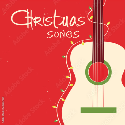 Christmas songs guitar on red background Vector greeting