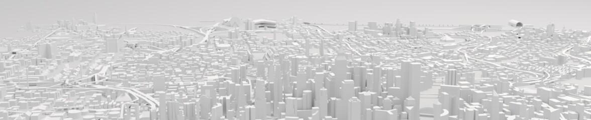 City Center 3d rendering, illustration 3d