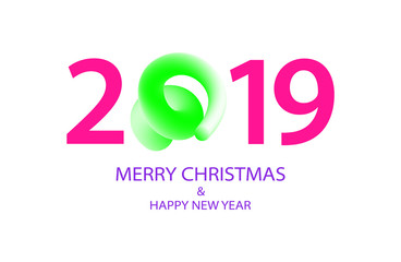 2019 Happy New Year greeting banner with Curly Pig Tail in a shape of number. A symbol of the Chinese 2019 year.
