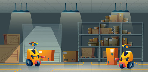 Vector cartoon storehouse with robot-workers, delivery by smart technologies. Background with automation in a warehouse, storage. Artificial intelligence in forklift machine carries boxes from shelves