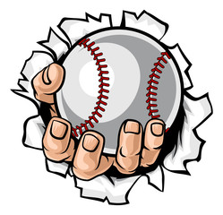 A strong hand holding a baseball ball tearing through the background. Sports graphic