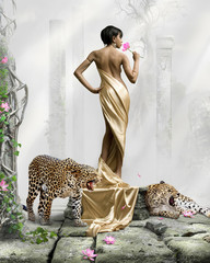 surreal fairy tale artwork, black skin girl with leopards, beautiful model and fantasy background