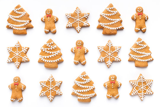 Homemade christmas cookies on white background, top view