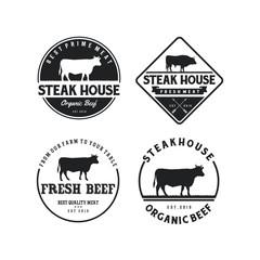 Vintage Cattle. Steak House / Beef logo design inspiration. Grill Restaurant emblem - Vector