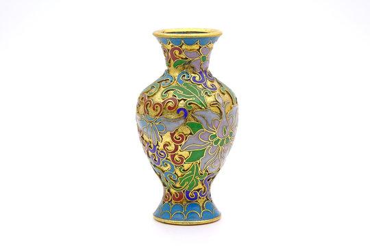 Vase : Antique Chinese Cloisonne enamel vase isolated on white background