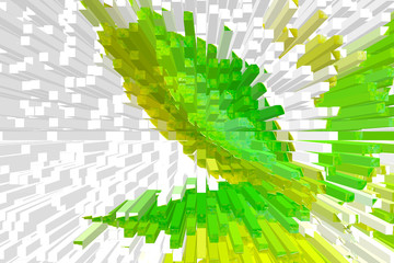 Multi-colored, green and white background, beautiful volume abstraction