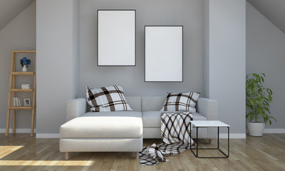 gray attic with two poster mockup