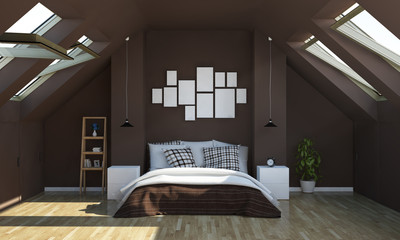 chocolate color bedroom on attic with photo frames mockup