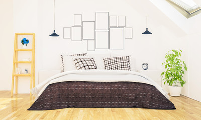 bedroom with photo frames on a wall