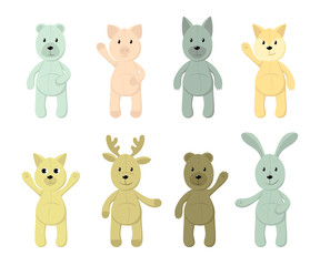 Vector Set of cute toy animals: polar bear, brown bear, piglet, fox, hare, rabbit, dog, wolf, cat, deer for your design. Print for kids, baby