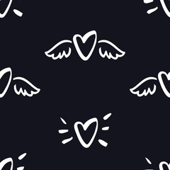 Hearts with wings Seamless Pattern Valentine day Black background
