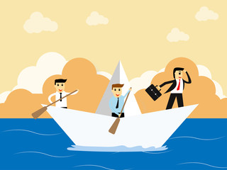 businessman standing on paper boat with team and looking at the ocean,business concept, Employees are boating