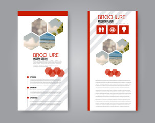 Narrow flyer and leaflet design. Set of two side brochure templates. Vertical banners. Red colors. Vector illustration mockup.