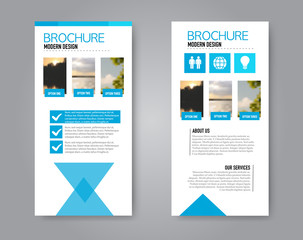 Narrow flyer and leaflet design. Set of two side brochure templates. Vertical banners. Blue colors. Vector illustration mockup.