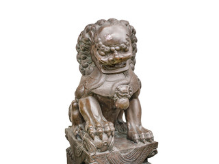 Thailand Lion Statue in Temple on isolated background