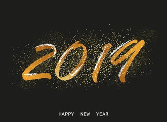 Happy new year vector background 2019 greeting banner template, poster. Christmas lettering with glitter gold.