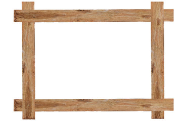 Wooden picture frame isolated on white background. with clipping path.
