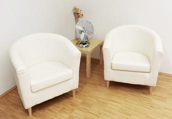Wartebereich mit zwei Sesseln