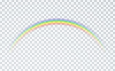 Rainbow icon isolated on transparent background. Spectrum fantasy pattern. Vector realistic translucent sky element template.