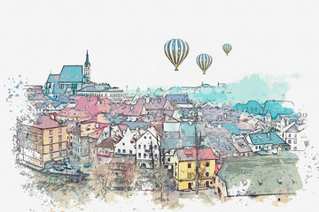 A watercolor sketch or an illustration of the traditional architecture in Czech Republic. Hot air balloons are flying in the sky.