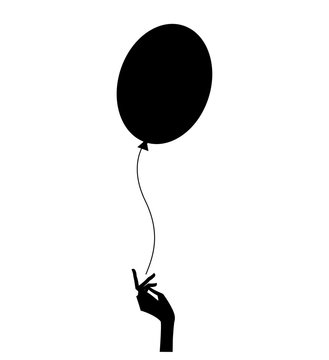 silhouette of the woman hand letting go the balloon. vector illustration